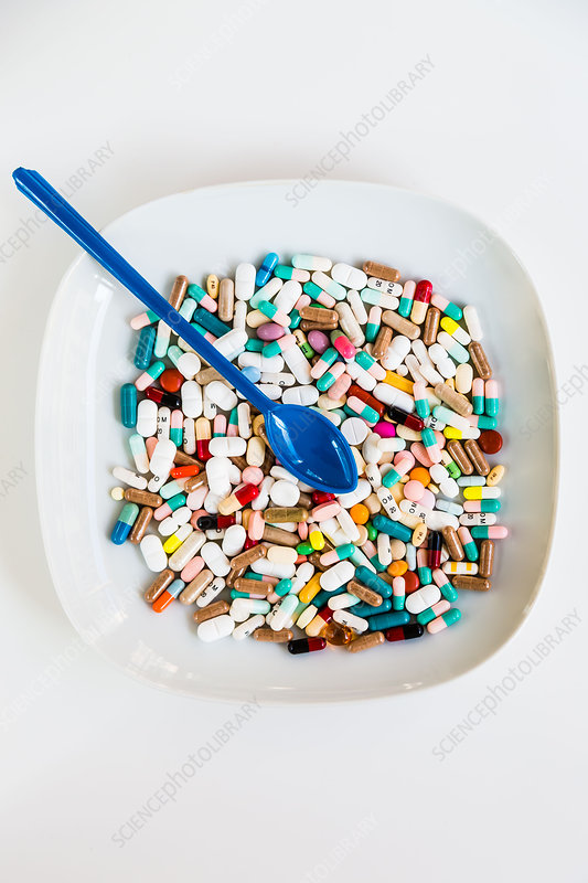 Capsules and pills on a plate