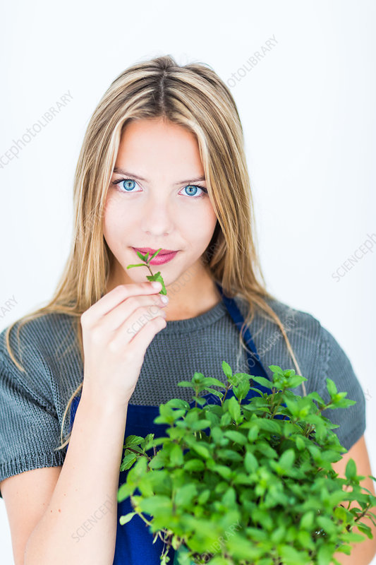 Woman smelling mint leaves (Mentha sp)