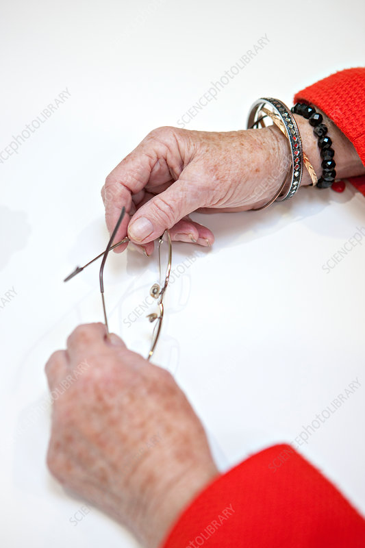 Hands of a woman with dementia
