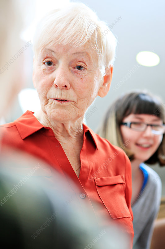Woman with dementia with social care worker