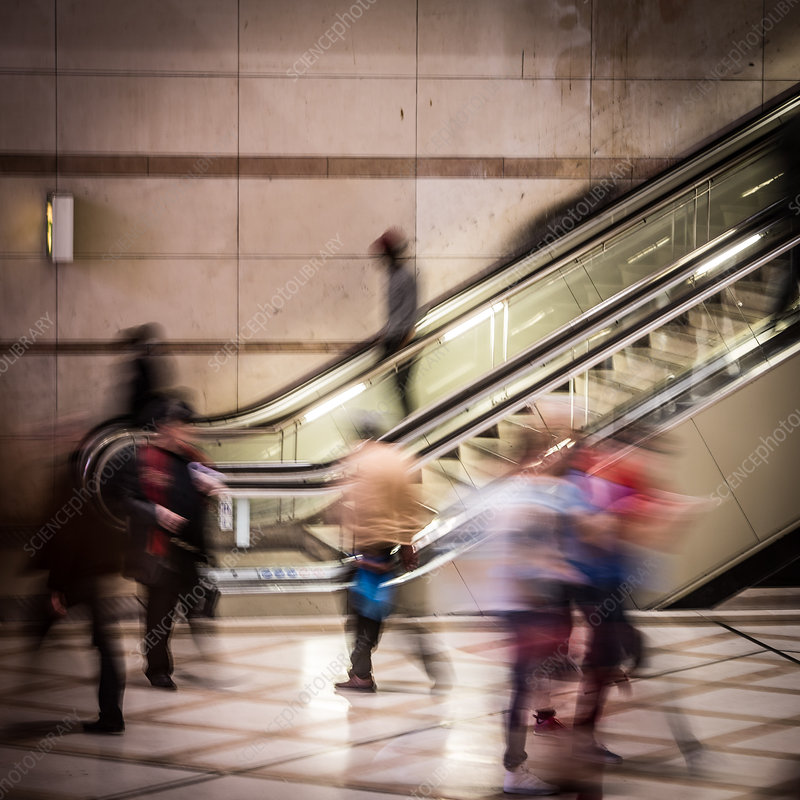 People using escalators