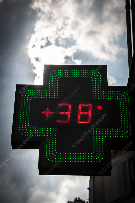 Pharmacy sign indicating outside temperature