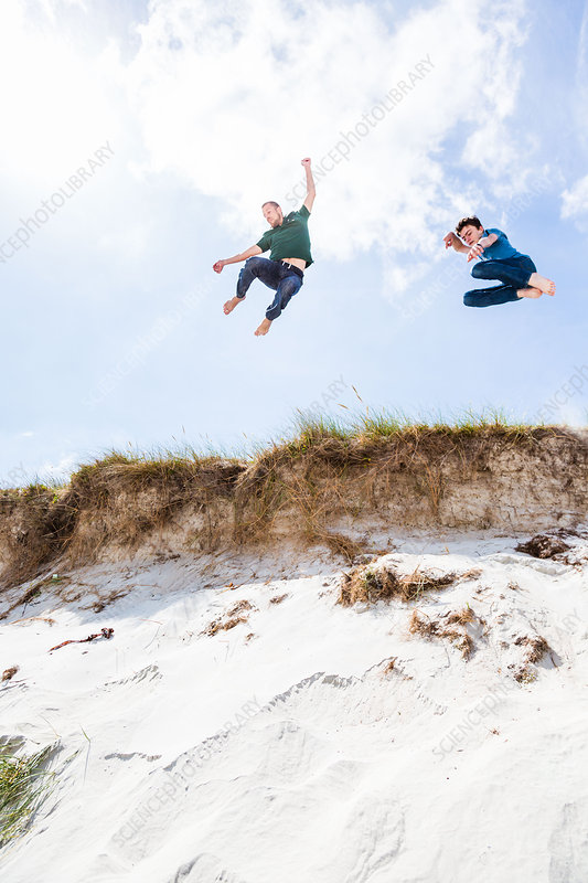 Jumping in sand dunes