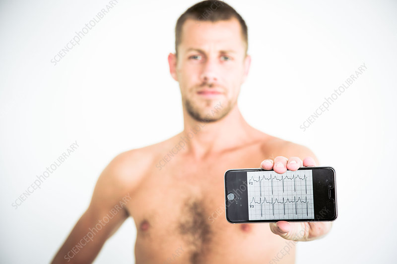 Man using health application on his smartphone
