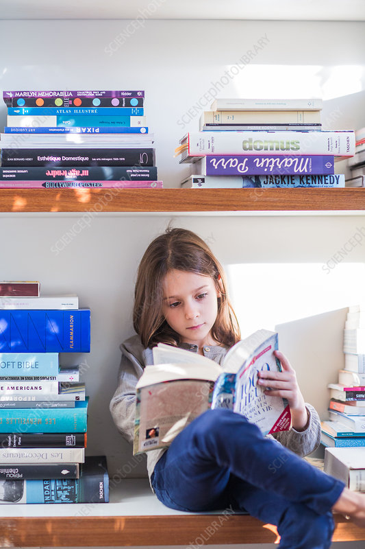 8 year-old girl reading