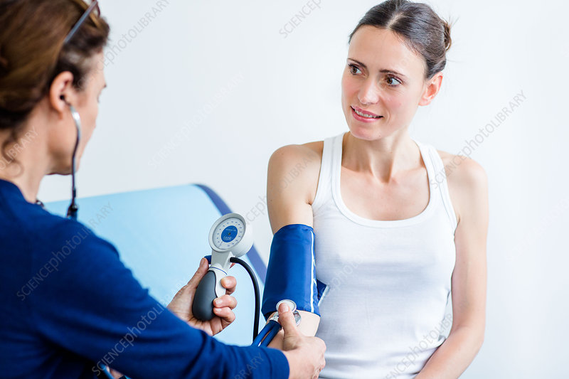 Doctor checking the blood pressure of a woman