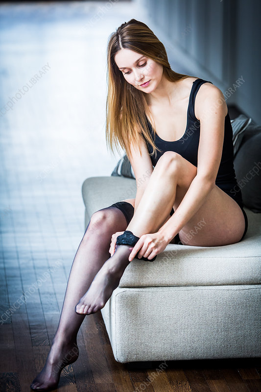 Woman wearing support stockings