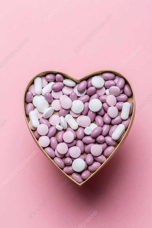 Generic pills and capsules in heart shape