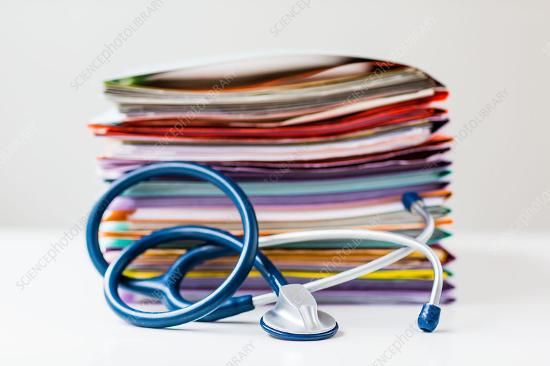 Administrative files and stethoscope