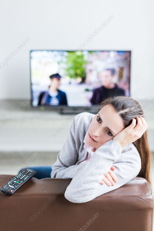 Woman watching TV