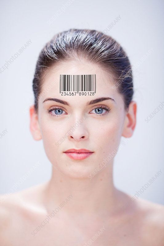 Woman with barcode on forehead