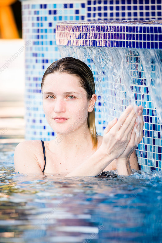 Woman in spa pool