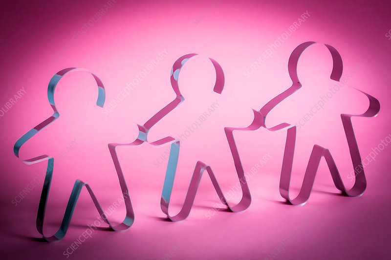 Silhouettes in pink light