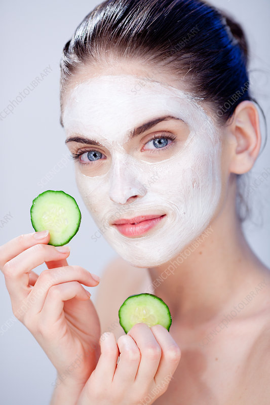 Woman with cosmetic beauty mask