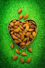 Almonds in heart shape