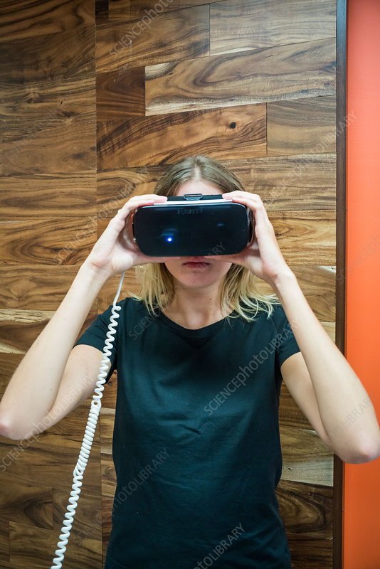 Woman wearing a virtual reality headset