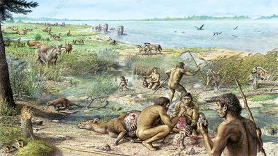 Pleistocene hominins at Happisburgh, illustration