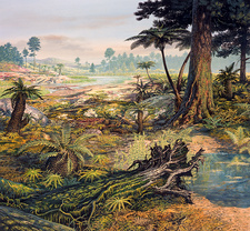 Jurassic landscape, illustration