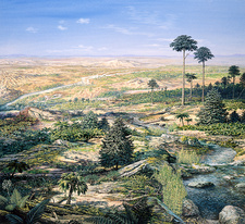 Late Triassic landscape, illustration