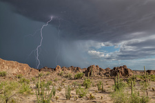 Lightning strike and basalt pinnacles, Arizona, USA