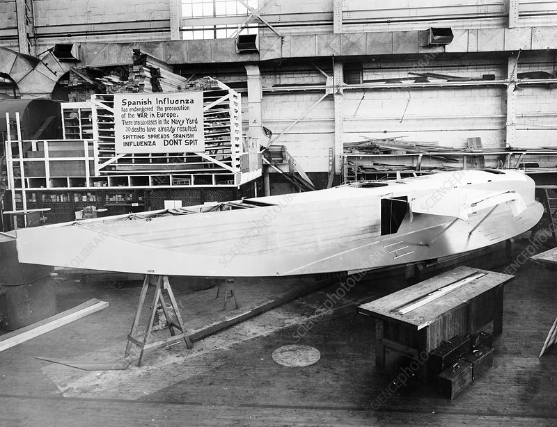 Experimental F6L flying boat under construction, USA, 1918