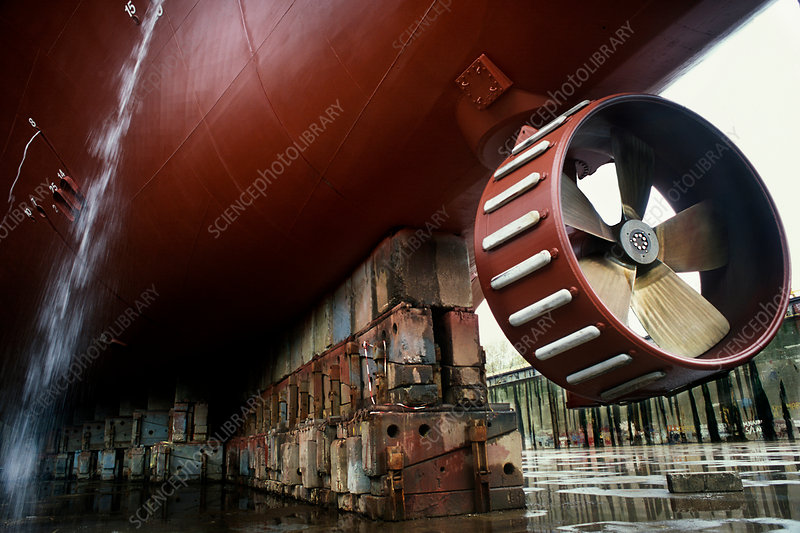 Propeller of a ship in a dry dock