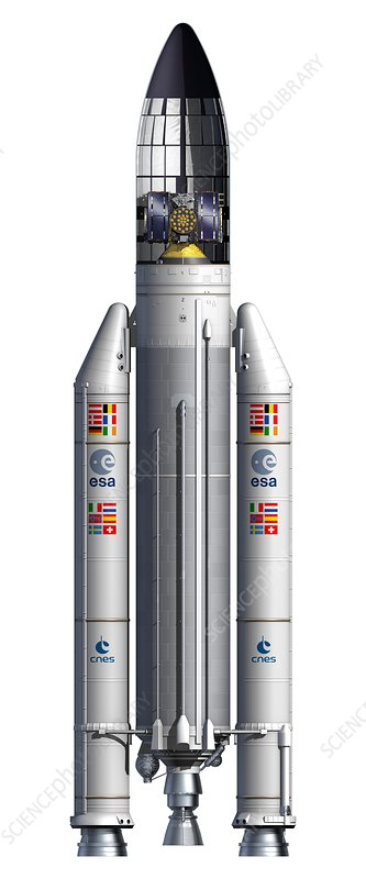 Ariane 5 ES rocket and Galileo satellites, illustration