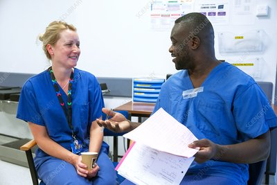 Surgical staff chatting