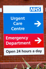 Hospital emergency departments sign