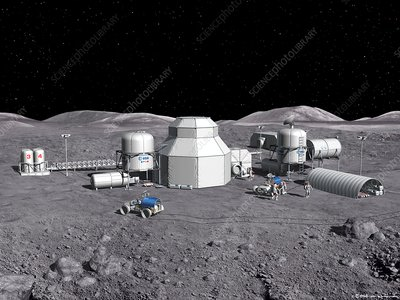 Aurora moon base, illustration