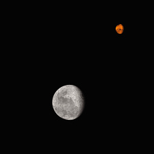 The Moon and Mars from space