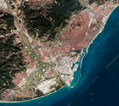Barcelona, Spain, satellite image
