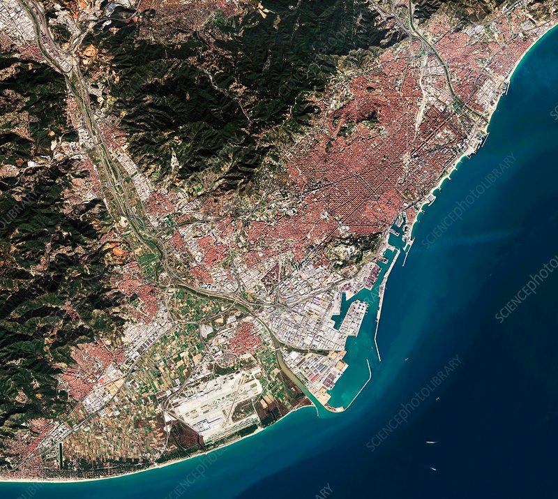 Satellite Map Of Spain.Barcelona Spain Satellite Image Stock Image C035 5213
