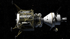 Altair and Orion spacecraft in space, illustration