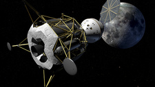 Altair and Orion spacecraft at the Moon, illustration