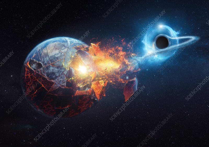 Black hole destroying the Earth, illustration