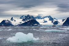 Orographic clouds and icebergs, Svalbard