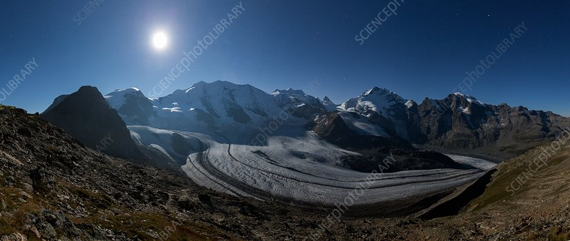 Pers glacier at night, Switzerland
