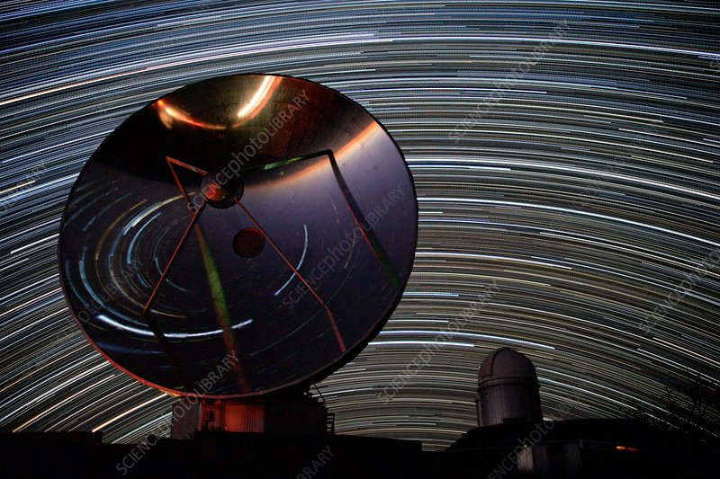 Star trails over ESO telescopes at La Silla