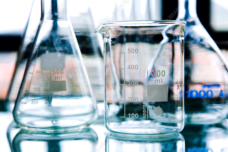 Glassware in laboratory