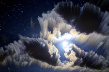 Moonlit clouds, time-exposure image