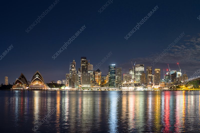 Sydney Harbour skyscrapers at night