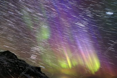 Aurora borealis, time-exposure image