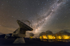 ALMA radio astronomy antenna and Milky Way