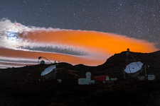 Clouds and light pollution, Canary Islands