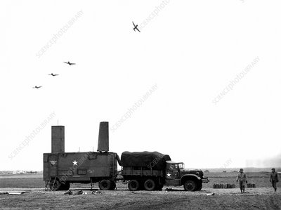 Ground-control approach radar on airfield, France