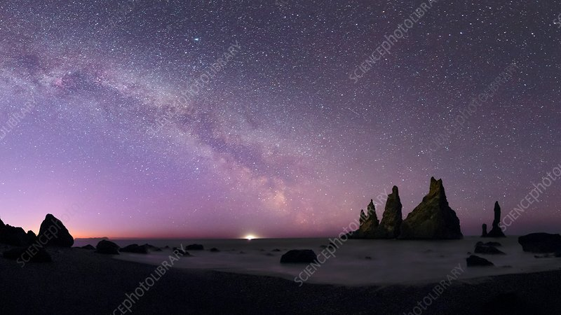 Milky Way over sea stacks, Iceland