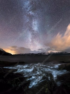 Milky Way over a fjord
