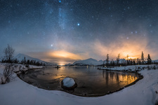 Night sky and light pollution in winter