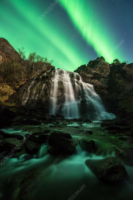 Aurora borealis over a waterfall